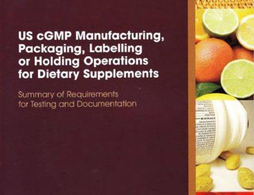 US cGMP requirements for supplements